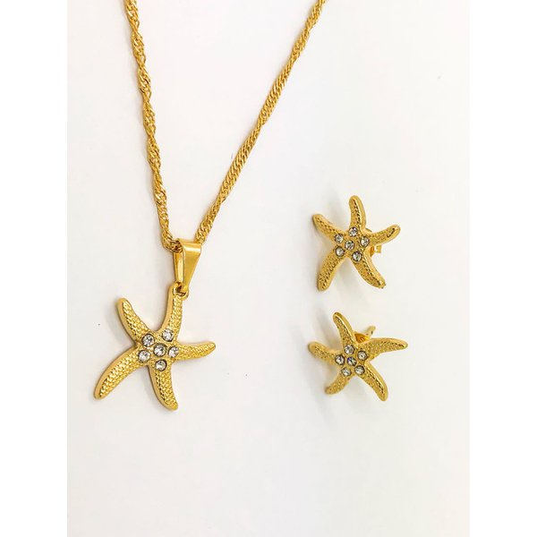 Conjunto Folheado Ouro Estrela Do Mar