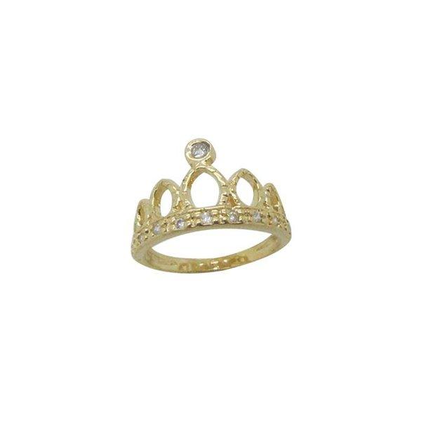 Anel Coroa Folheado Ouro Com Zirconia