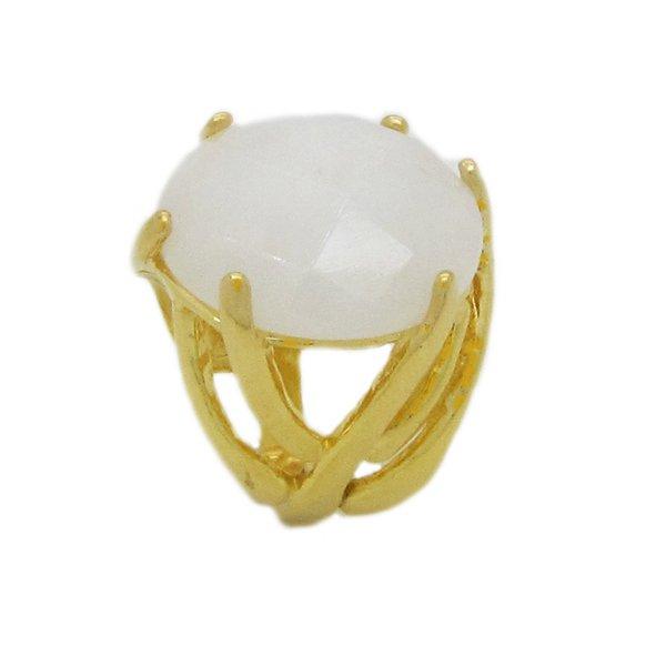 Anel Folheado Ouro Pedra Ágata Branca