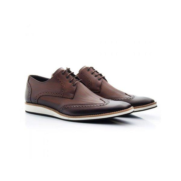 Sapato Casual Oxford Masculino Couro Café 516