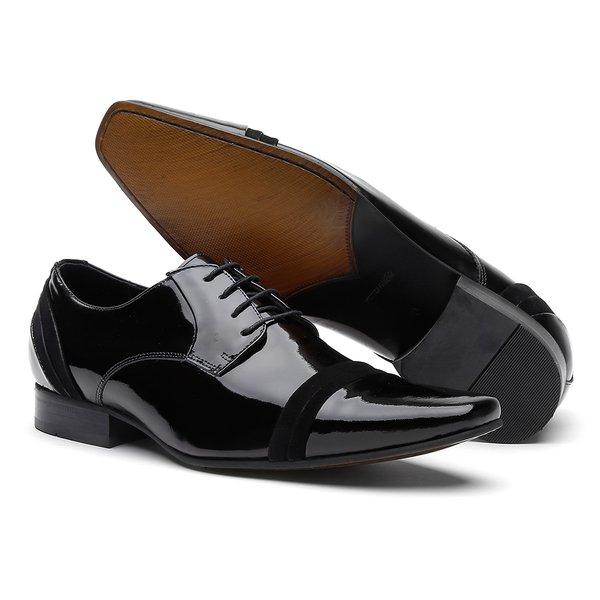 21b261e51 Sapato Clássico Social Masculino AREZZO Verniz Cristal Preto / Napa Velour  Preta | FrancaSapatos