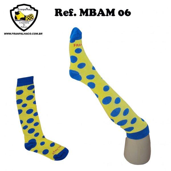 MEIA BOLINHA AZUL/AMARELA Ref MBAM 06