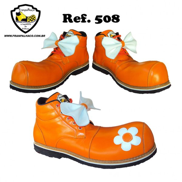 Sapato de Palhaço Feminino Laranja com Flor Ref 508