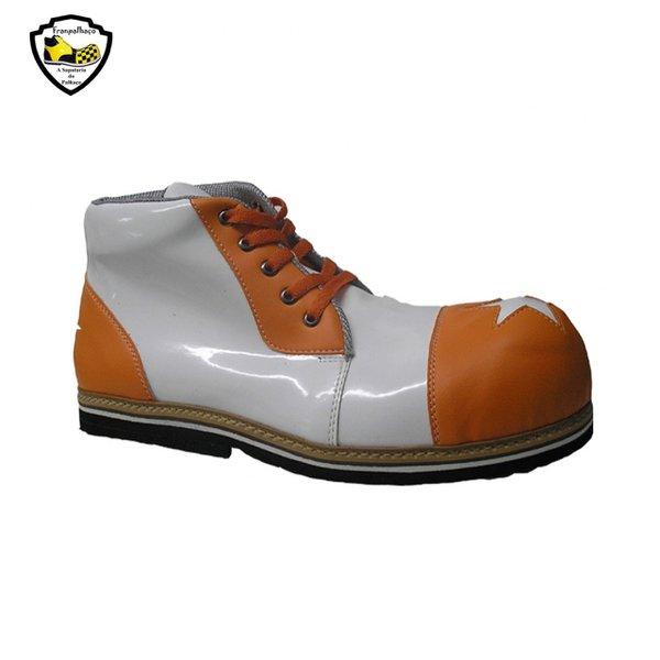 Sapato de Palhaço Branco/Laranja Ref 601