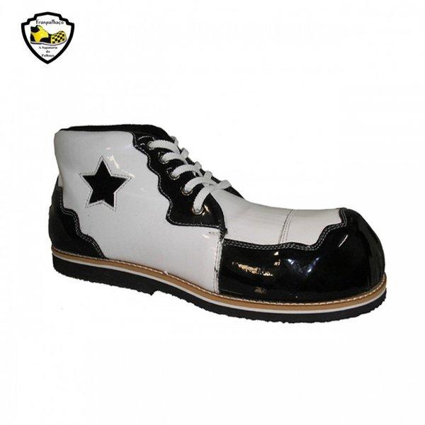 Sapato de Palhaço Infantil Branco/ Preto com Detalhe em Estrela Ref 403