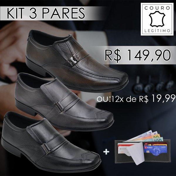 8d8be3fe6 Kit Sapato Social em Couro Bovino Bico quadrado+ carteira