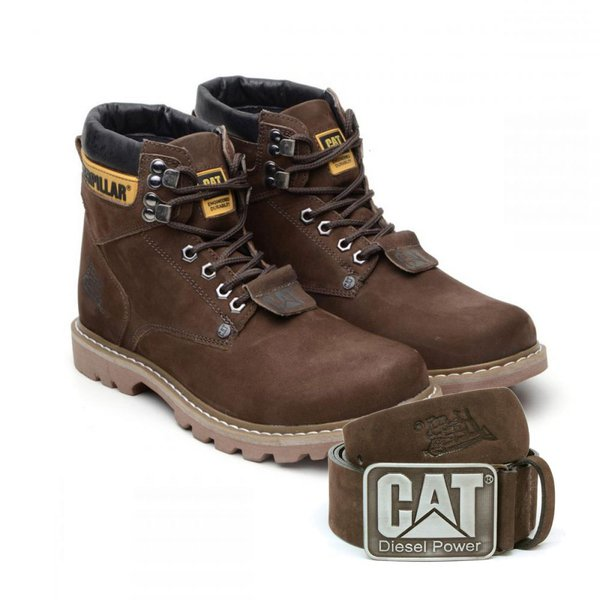 Bota Caterpillar Second Shift Boot + Cinto Couro - Café