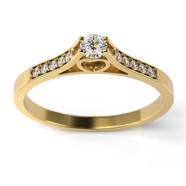 Solitário em Ouro 18k Trabalhado Coração com Diamantes