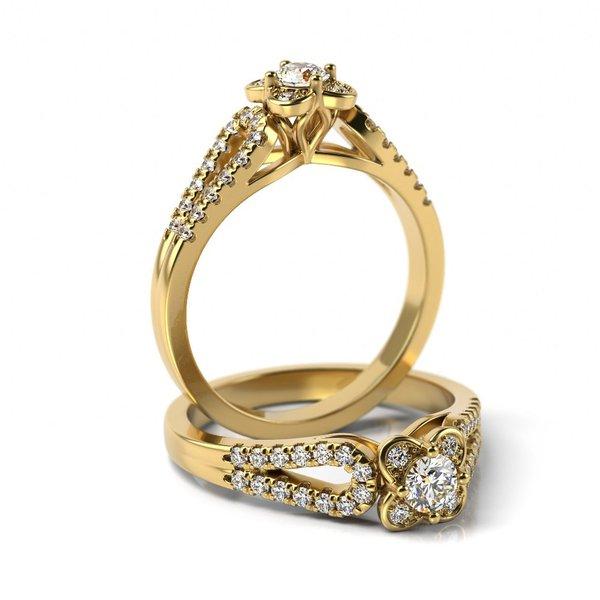 Solitário em Ouro 18k Flor com Diamantes