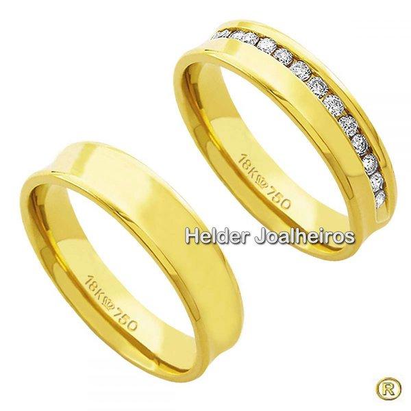 Aliança de Casamento de Ouro 18k