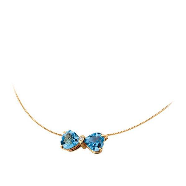 Gargantilha Ping. Laço de Topázio Suice em Ouro 18K com Diamantes