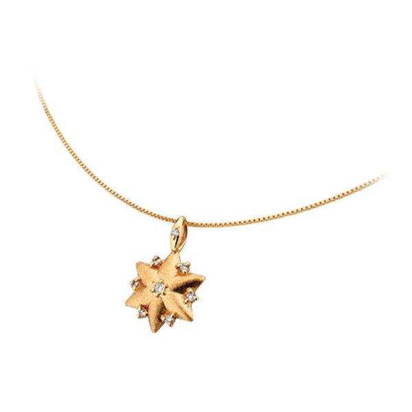Gargantilha Ping. Estrela 6 Pontas Em Ouro 18K Com Diamantes