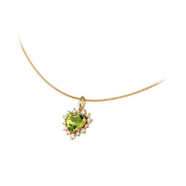 Gargantilha Pingente Coração de Peridoto em Ouro 18K com Diamantes