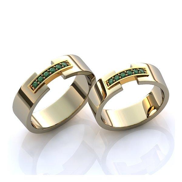 5c558962d9ad6 Aliança de Casamento com Esmeraldas - 0282AL