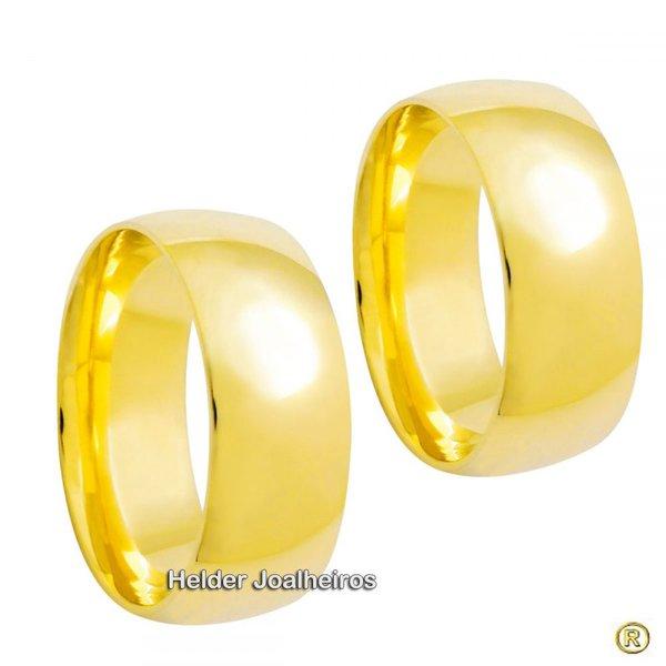Aliança Clássica 8,0 Milímetros de Ouro 18k - Casamento e Noivado