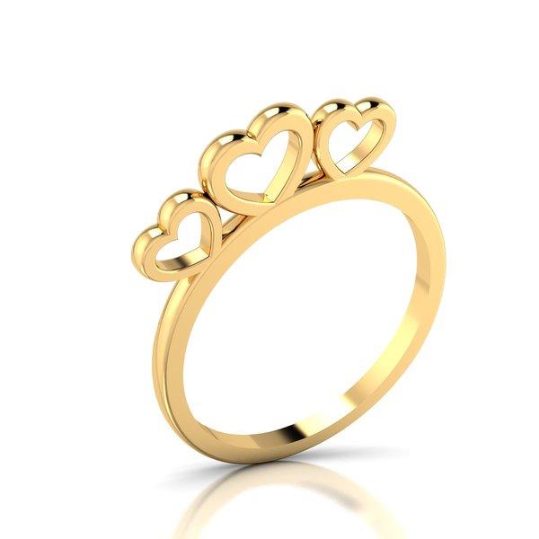 Anel Corações Love Ouro 18k 750