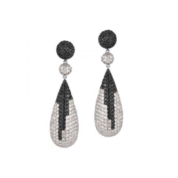 Brinco em Ouro Branco 18k 750 com Diamante Black e Diamante Branco