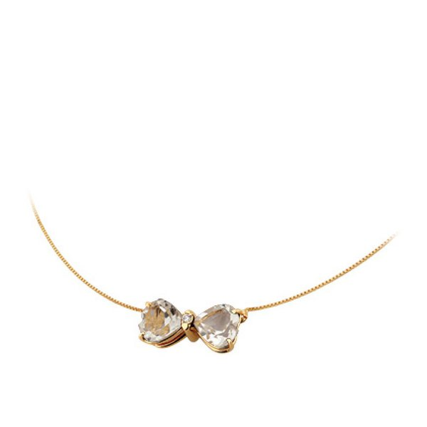 Gargantilha Ping. Laço de Quartzo Branco em Ouro 18K com Diamantes