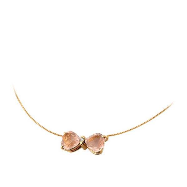 Gargantilha Ping. Laço de Quartzo Rosa em Ouro 18K com Diamantes