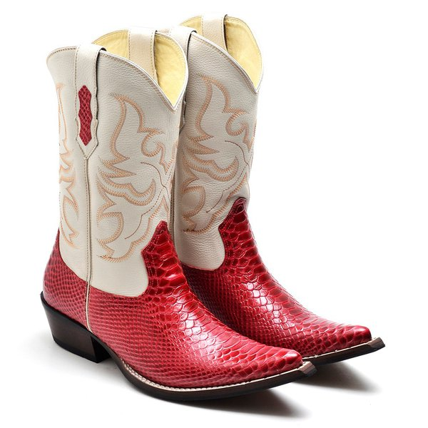 09fbbbf5b Bota Country Texana Masculina Bico Fino Anaconda Vermelho e Floater Marfim