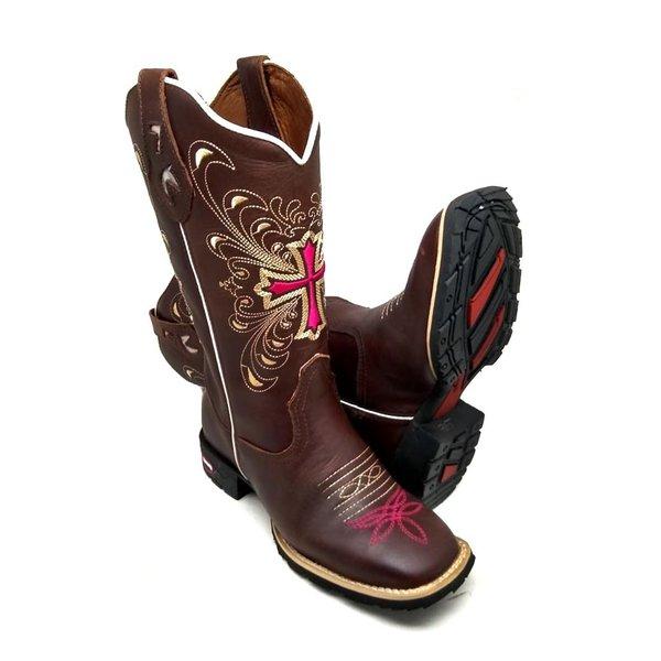 9ff5cf1ea2 Bota Country Texana Feminina Cruz Bico Quadrado Couro Crazy H Café ...