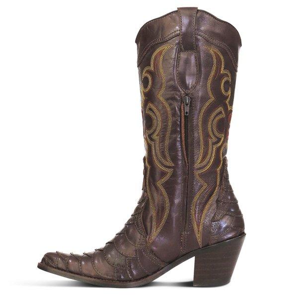 a4d61ba7dd Bota Country Texana Feminina Escamada Couro Latego Café e Mustang Café -  JMCOUNTRY