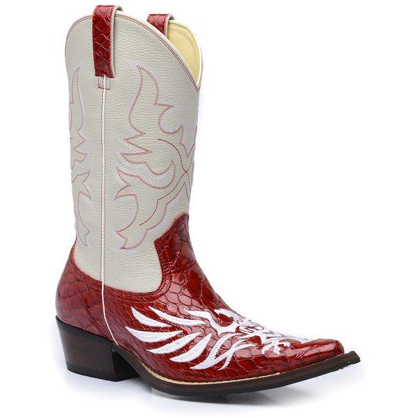 8f1330bd4 Bota Country Masculina Texana Bico Fino Couro Anaconda Vermelho e Floater  Marfim
