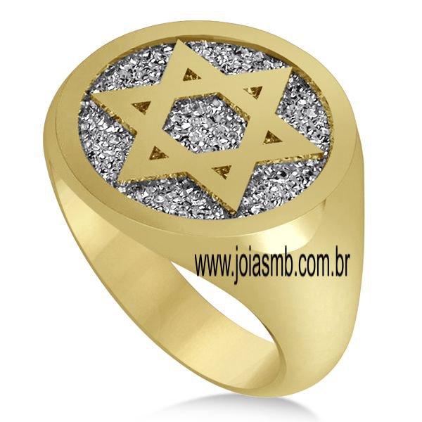 Anel de Ouro Masculino Estrela de David