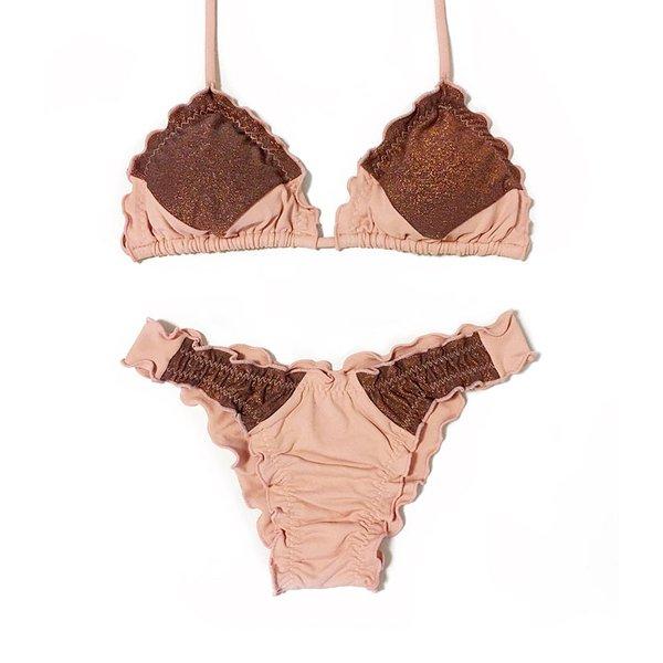 Recortes Nude Rosé e Lurex Cobre - Biquini Ripple Calcinha Inteira