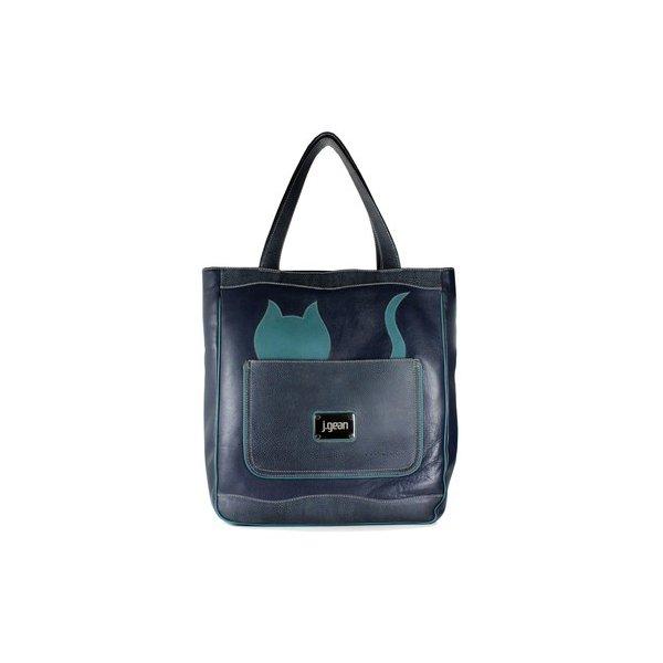 Bolsa Artesanal Sacola Gato Blue 100% Em Couro J.Gean