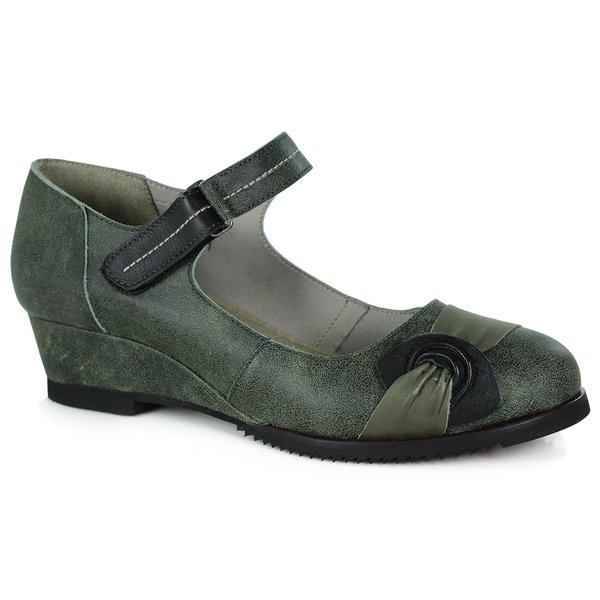 Sapato em Couro Susan Médio Oliva J.Gean DC0011-04