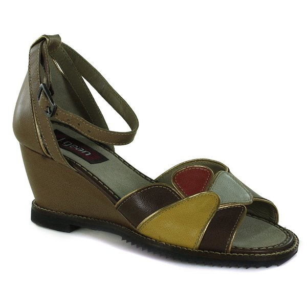 Sandália Em Couro Susan Anabela Alto Osso J.Gean