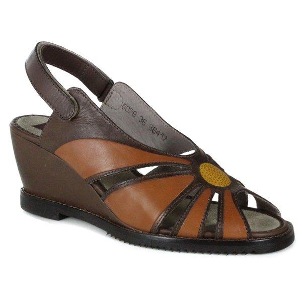 Sandália Em Couro Susan Anabela Alta Coffe J.Gean