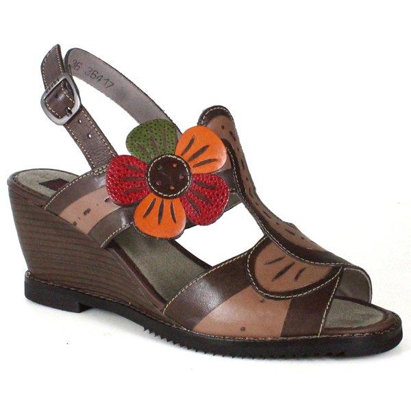 Sandália em Couro Susan Anabela Alta Coffee J.Gean