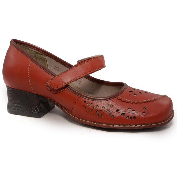 Sapato Em Couro New Kelly Urucum J.Gean