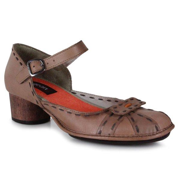 Sapato Em Couro Lolla Baixo Taupe J.Gean