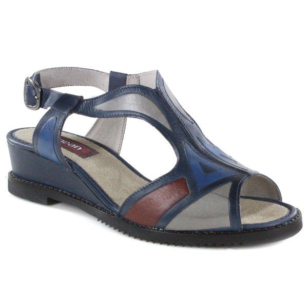 Sandália Em Couro Susan Anabela Médio Navy J.Gean