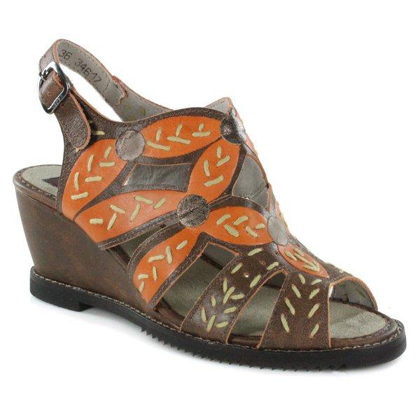 Sandália Em Couro Susan Anabela Alta Laranja J.Gean