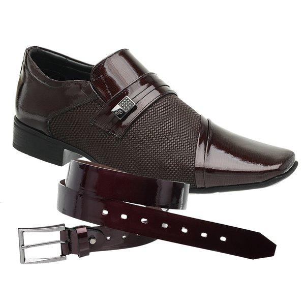 Sapato Social Jota Pe Vinho Air Prince + Cinto envernizado