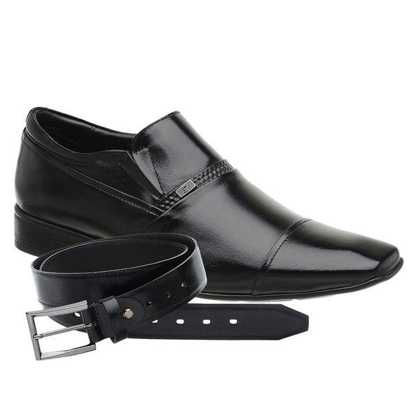 Sapato Social Masculino Preto Madok Air Manhattan + Cinto de Couro