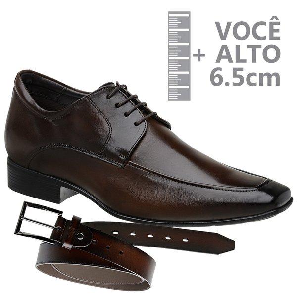 Sapato com Salto Interno Jota Pe Marrom Grow Air Bridg + Cinto de Couro