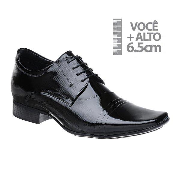 Sapato com Salto Interno Jota Pe Preto Verniz Grow Air