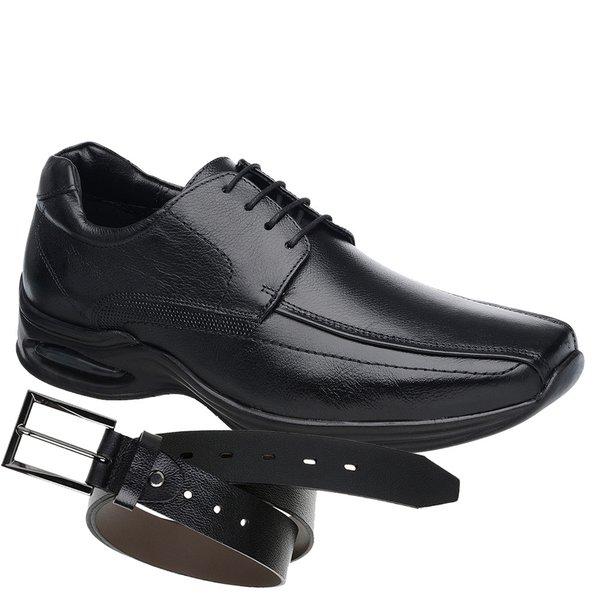 Sapato Jota Pe Preto Air Life + Cinto de Couro Preto