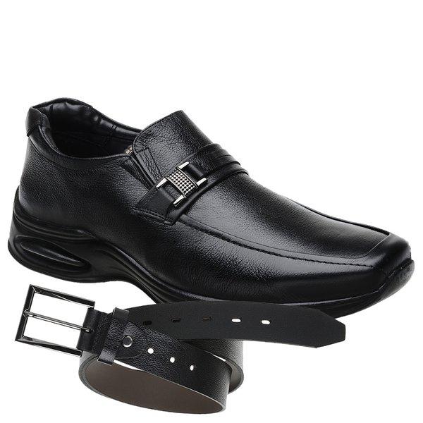 Sapato Jota Pe Preto Air Life + Cinto de Couro