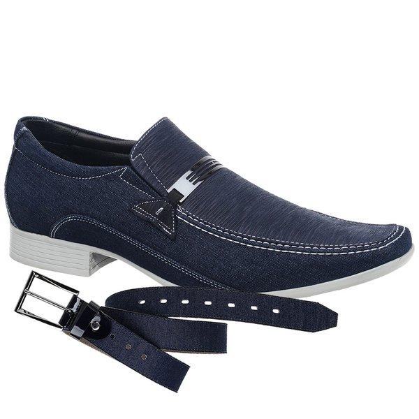 Sapato Casual Jota Pe Jeans/Fogli Marinho + Cinto Jeans Marinho