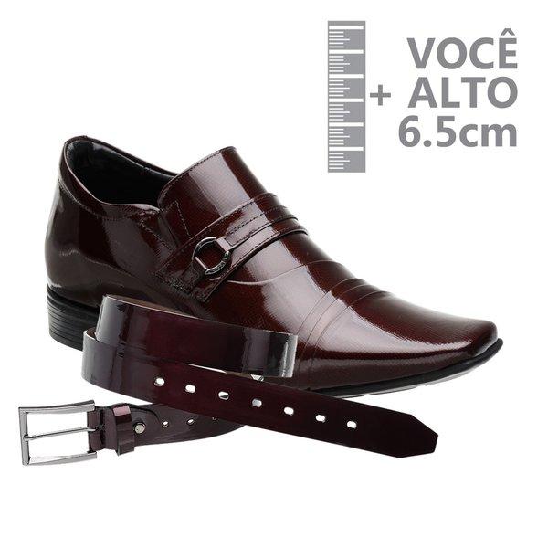 Sapato com Salto Interno Jota Pe Vinho Grow Air + Cinto de Verniz