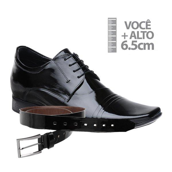 Sapato com Salto Interno Jota Pe Preto Grow Air Verniz + Cinto Verniz Preto