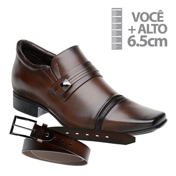 Sapato com Salto Interno Jota Pe Marrom Grow Air+Cinto de Couro