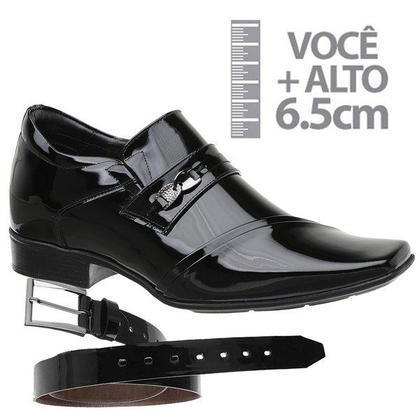 Sapato com Salto Interno Jota Pe Preto Grow Air Connar + Cinto de Verniz