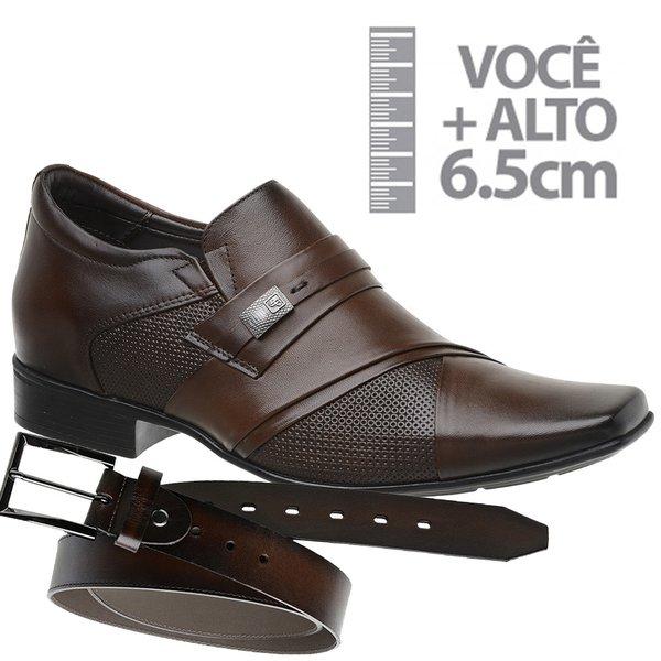 Sapato com Salto Interno Jota Pe Marrom Grow Air Connar+ Cinto de Couro